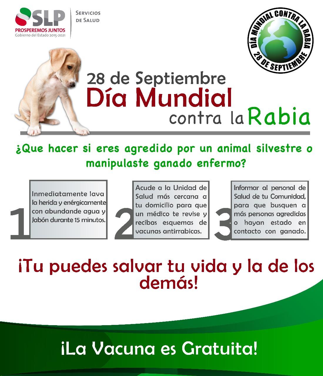 CONMEMORA LA SECRETARÍA DE SALUD EL DÍA MUNDIAL CONTRA LA RABIA.